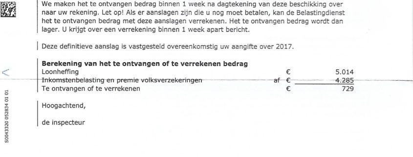 Holenderskie rozliczenie podatkowe 2017- decyzja podatkowa